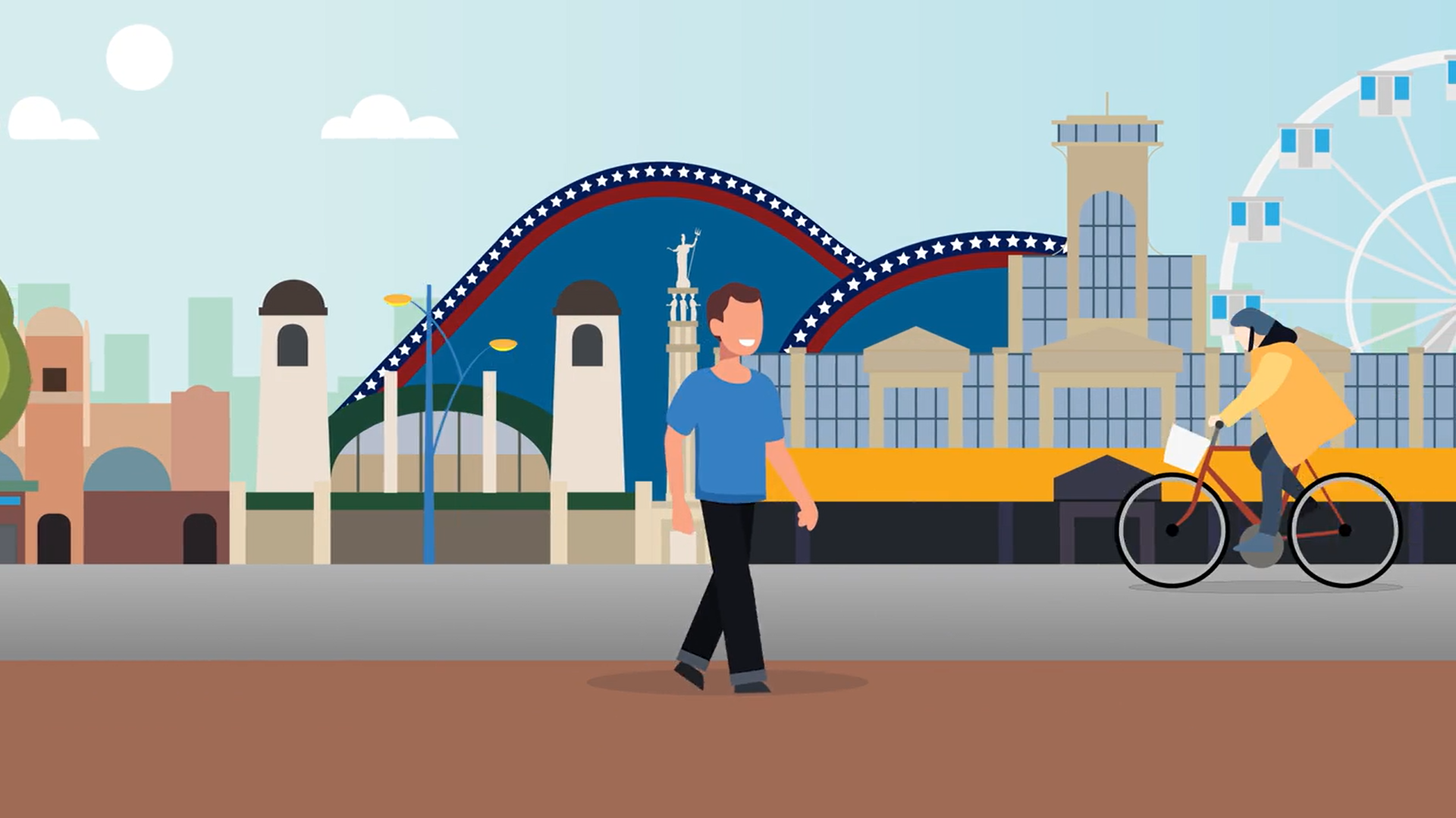Cartoon image of people walking and cycling in Great Yarmouth