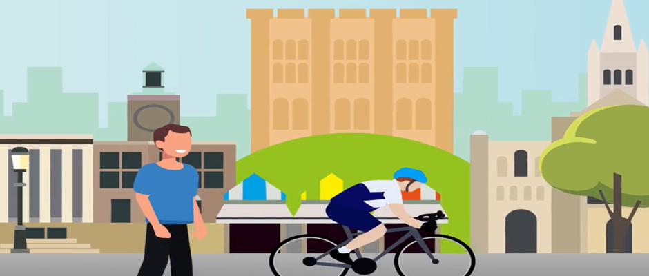 Cartoon image of people walking and cycling in Norwich