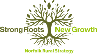 Norfolk Rural Strategy Logo. Featuring a drawing of a tree and the words 'strong roots, new growth'